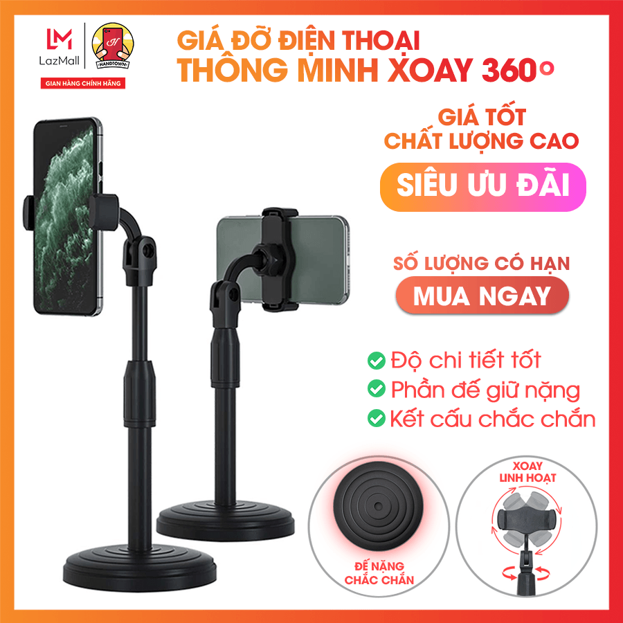 Giá đỡ điện thoại di động, máy tính bảng để bàn, có thể điều chỉnh độ cao, xoay 360 độ, Livestream, Xem Video Handtown
