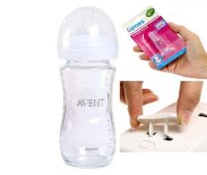 Combo 1 Bình Sữa Thủy Tinh Philips Avent 240ml Kèm 1 Rơ Lưỡi Xỏ Ngón Silicone UPASS ( Tặng 1 nút bít ổ điện an toàn cho bé )