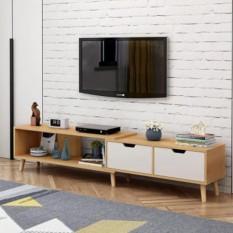 Kệ tủ TV thông minh co giãn 3 màu nâu, trắng, kem bằng gỗ – Kệ tivi phòng khách hiện đại – Kệ tủ gỗ để đồ decor đẹp