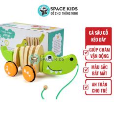 Đồ chơi trẻ em Cá sấu gỗ có dây kéo Space Kids Đồ chơi vận động cho bé, chất liệu gỗ tự nhiên, nhiều màu sắc