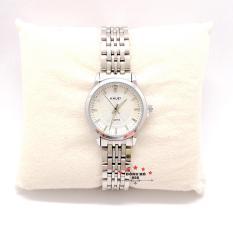 Đồng hồ nữ HALEI dây kim loại thời thượng ( HL552 dây trắng mặt trắng ) – TẶNG 1 vòng tỳ hưu phong thuỷ