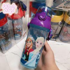 Bình nước nút bấm hình công chúa Anna, Elsa (Frozen) và Olaf màu xanh cho bé gái – 470ml – (Thái Lan) – 270NFRN3841A – (6.5×6.5x21cm)