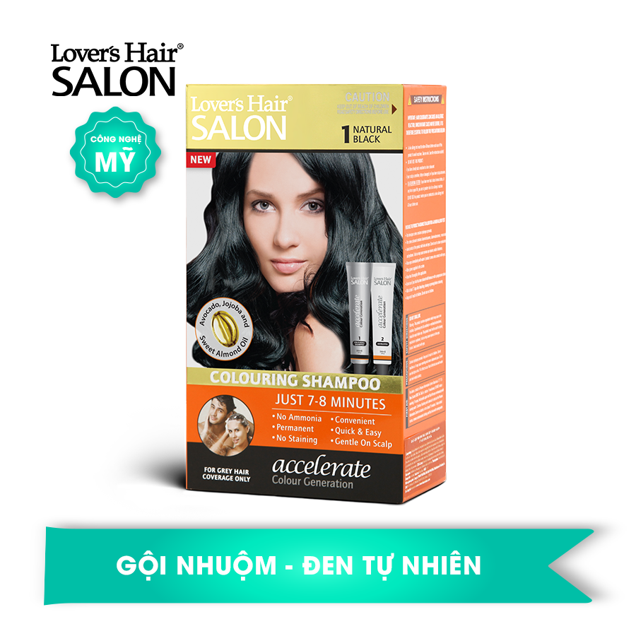 Dầu Gội Nhuộm Tóc số 1 Lover's Hair Salon 1 Natural Black (Màu Đen)