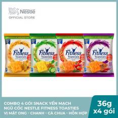 Combo 4 Gói Snack Yến mạch ngũ cốc Nestle FITNESS Toasties vị Mật ong – Chanh – Cà chua – Hỗn hợp