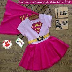 [TẶNG KHĂN CHOÀNG] -Đầm siêu nhân bé gái từ 9-26kg- thun cotton thấm hút mồ hôi- Hình không bong tróc khi giặt bằng máy- Red Ant kids