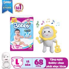 [KÈM QUÀ] Tã/Bỉm dán Bobby (rãnh thấm kim cương) gói siêu lớn L-68 miếng (9 – 12kg) – Tặng Bobby-chan biết hát 35cm