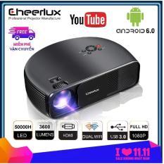 Máy chiếu Android 6.0 projector Cheerlux CL760 UP 2019, kết nối WIFI, Bluetooth, độ nét cao 150 inch hỗ trợ Full HD, đèn LED 150W, 3600 lumens sáng rõ, kết nối không dây với điện thoại.