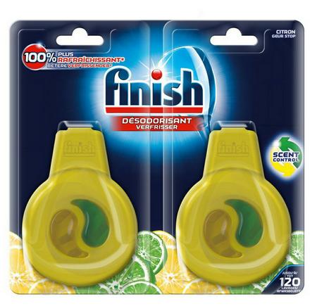 Combo 2 Miếng Tinh dầu treo khử mùi máy rửa chén Finish Dishwasher Freshener Lemon