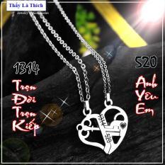 Dây chuyền cặp đôi inox hình chìa khóa và trái tim khắc số 1314 / 520 màu trắng ( 2 dây + mặt như hình ) – Giá bán như trên là 1 cặp như hình