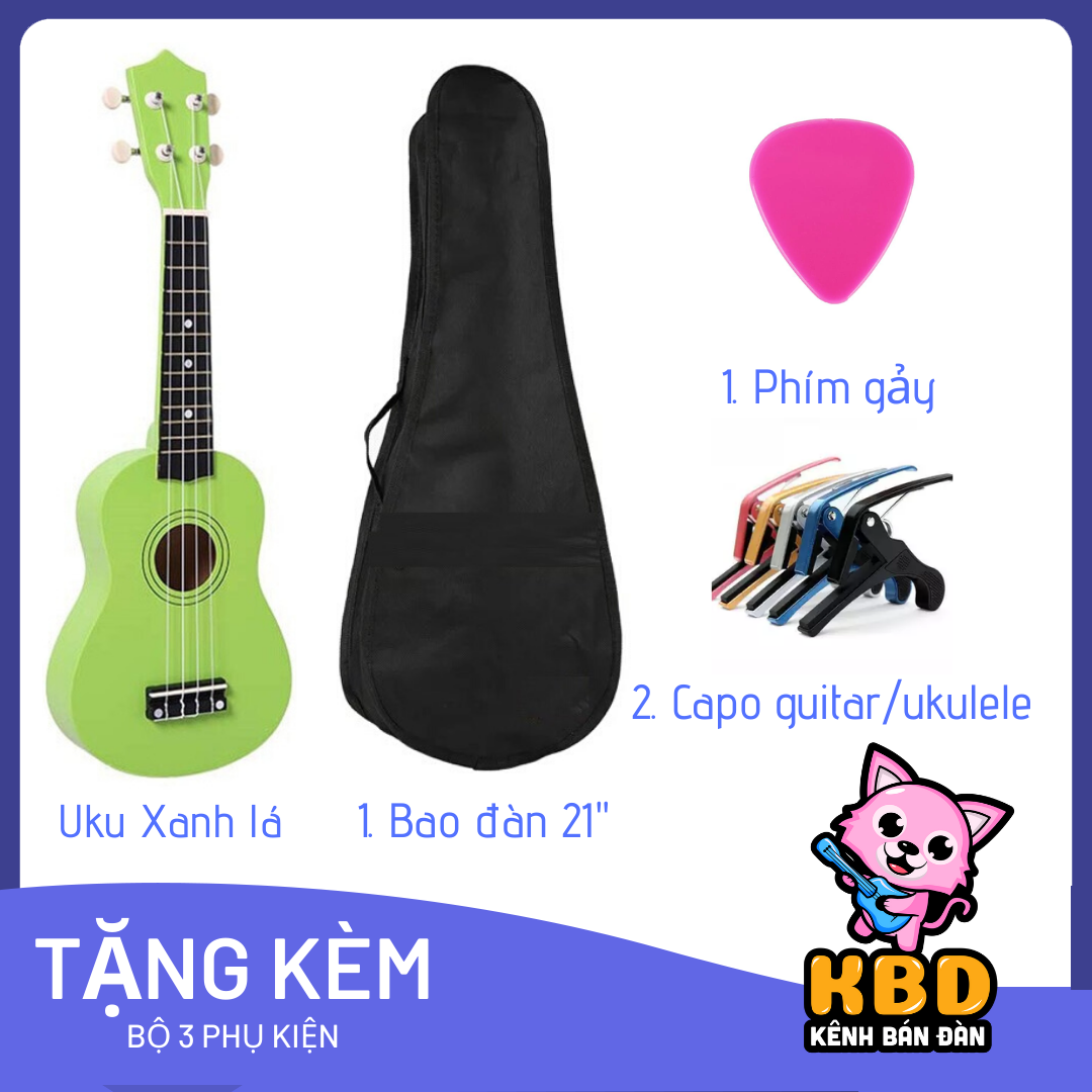 Tặng khoá học miễn phí khi mua đàn Ukulele Soprano Màu Trơn KBD-20 Full Option – Kênh Bán Đàn SG
