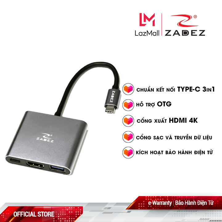Bộ chuyển đổi Type-C Hub ZAH-513 (3 trong 1)