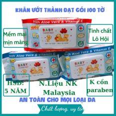 Khăn giấy ướt Baby Thành Đạt chiết xuất lô hội gói 100 tờ chính hãng mềm mại, không mùi không hóa chất phù hợp cho da em bé