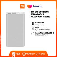 Sạc dự phòng Xiaomi Gen 3 10.000mAh l Sạc nhanh 2 chiều cổng Type-C 18W l Input: Micro-USB/USB-C/Output: USB-A x 2 l HÀNG CHÍNH HÃNG