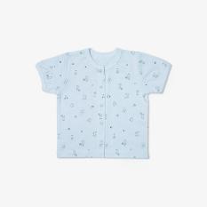 Áo nút giữa tay ngắn Mèo Mây xanh – Miomio – Dành cho bé từ 0-24 tháng