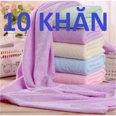 Bộ 10 Khăn Tắm Mỏng, Mền Mịn, Phơi Nhanh Khô (giao 5 màu)