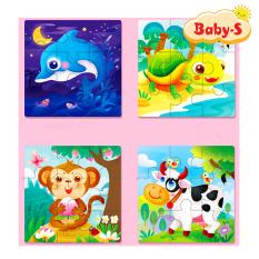 Tranh ghép gỗ giáo dục 9 miếng chủ đề động vật và phương tiện giao thông đa dạng đáng yêu đủ màu sắc cho bé yêu thỏa sức sáng tạo Baby-S – SDC019