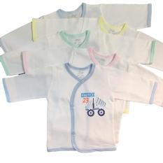Combo 5 Áo Tay Dài Cài Xéo Màu Trắng JOU (100% Cotton Cao Cấp)