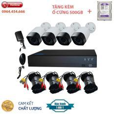 Bộ Kit Camera AHD 2.0Mp Full HD – Trọn Bộ Camera AHD 4 Kênh + Ổ Cứng 500GB – Bảo hành 12 tháng
