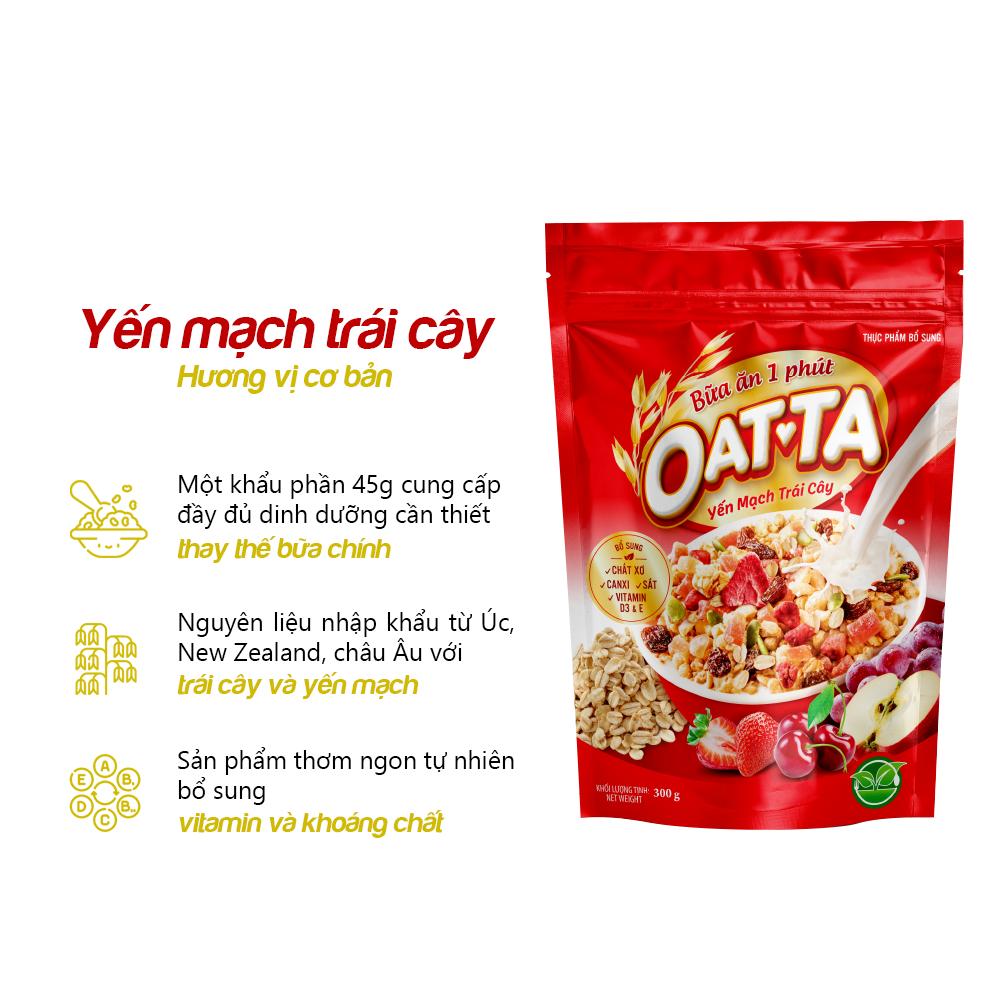 Yến mạch trái cây Oatta túi 300g (Tặng 1 hộp Yến mạch trái cây Oatta 45g)