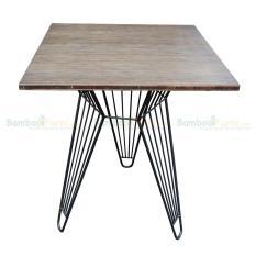 Bàn CafeBamboo vuông 60cm chân sắt lap