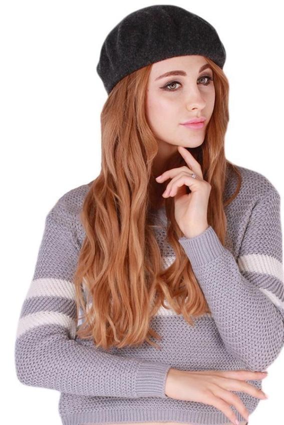LALANG Women Beret Cap Vintage Solid Color Beanie Hat Classic Berets Dark Linen .