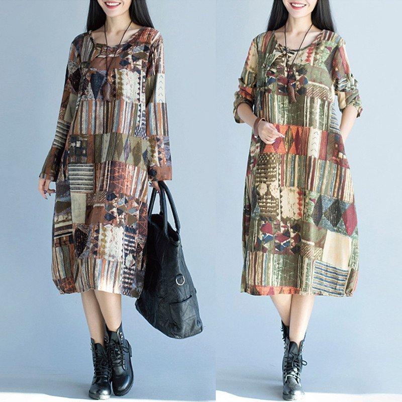 ... Vintage Lady Long Sleeve Batwing Retro Floral Print Long Maxi Dress Kaftan Shirt intl 5