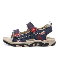 Mùa Hè 2016 Trẻ Em Đi Biển cho Bé Trai Chống Trượt Nhà Đế Giày Sandal Cut-out Thoải Mái Da Phẳng Sandal Trẻ Em Giày Thoáng Khí (màu Xanh đen) -quốc tế