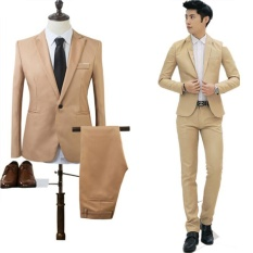 2017 High Quality Business and Leisure Suit Two-piece Suit The Groom's Best Man Wedding Blazer Suit – intl