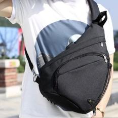 2017 New Men Fashion Single Shoulder Strap Back Bag Canvas Travel Chest Bag with USB Interface(Black) – intl