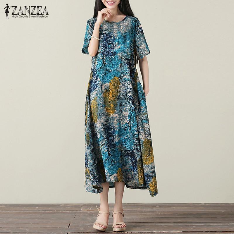 2017 Oversize ZANZEA Vintage Womens O Neck Short Sleeve Striped Patchwork Summer Casual Party Maxi Long Dress (Blue) – intl