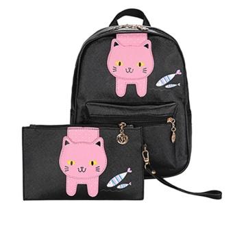 2PCS Fashion Women PU Leather Backpack Clutch Bag - intl