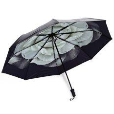 3 Folding 3D Flower Print Anti UV Sunshade Women Parasol Umbrella – intl