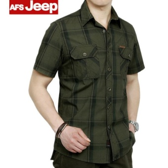 AFS JEEP Men's Fashion Casual Short Sleeve Shirt(Green) - intl
