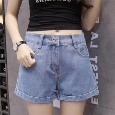 Amart Thời Trang Phụ Nữ Mùa Hè Quần Short Denim Cao Cấp Uốn Mỏng Cổ Rộng Chân Váy Jeans (xanh nhạt)-quốc tế