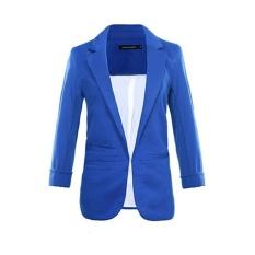 Amart Fashion Women Candy Color Slim Fit 3/4 Sleeves Suit Jacket Coat Tops(Dark Blue) – intl