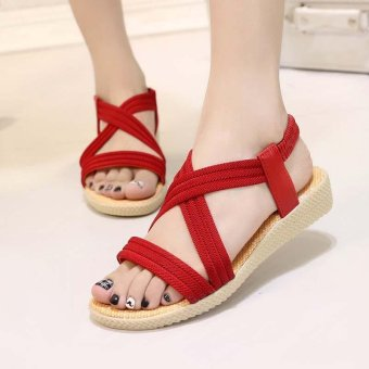 Amart Fashion Women Sandals Crossed Comfortable Beach Flat Shoes(Red) - intl