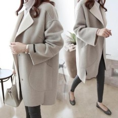 AngelCityMall New Women Lady Warm Wool Cashmere Long Winter Korean Style Slim Fit Thick Wool Coat Overcoat Jacket Trench Outwear
