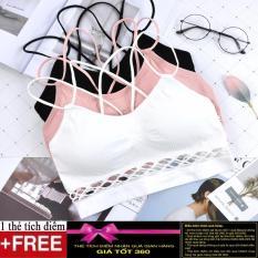 Áo bra, áo ngực thể thao chân ren dây chéo AL14