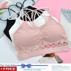 Áo bra, áo ngực thể thao chân ren dây chéo AL14 + Tặng kèm 1 thẻ tích điểm KoreaStore