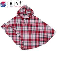Áo Choàng Có Tay Cho Bé – Caro đỏ – THIVI