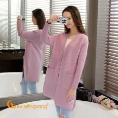 Áo choàng len áo khoác len nữ sọc ngang dài tay GLA063-Purple