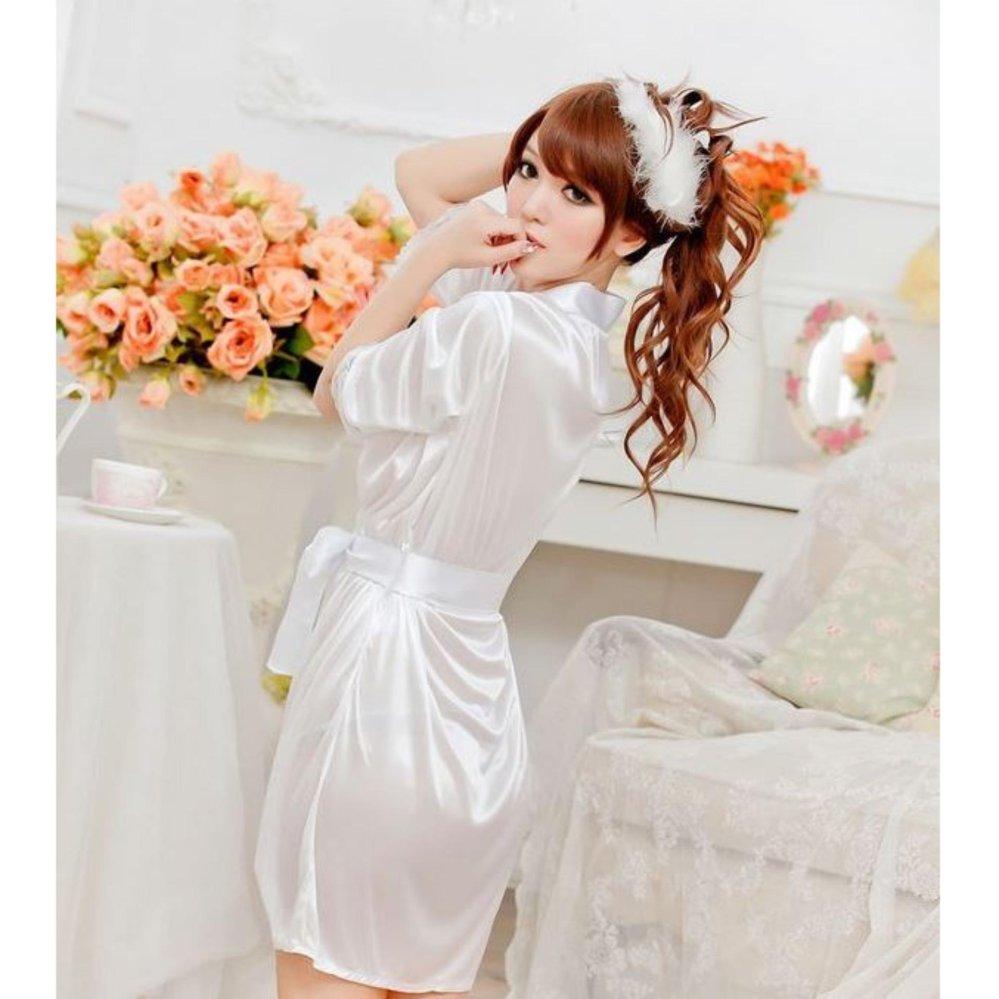 Áo choàng mặc ngủ satin (trắng) - DN033W