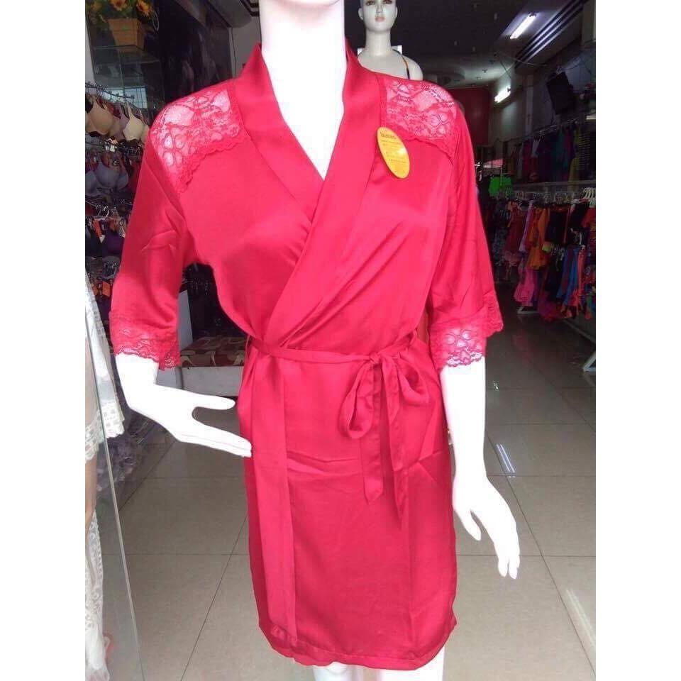 Áo Choàng Ngủ Cao Cấp Satin Lụa phối ren (Đỏ)