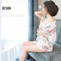 Áo choàng ngủ voan lụa thời trang ZAVANS (Hoa trắng)