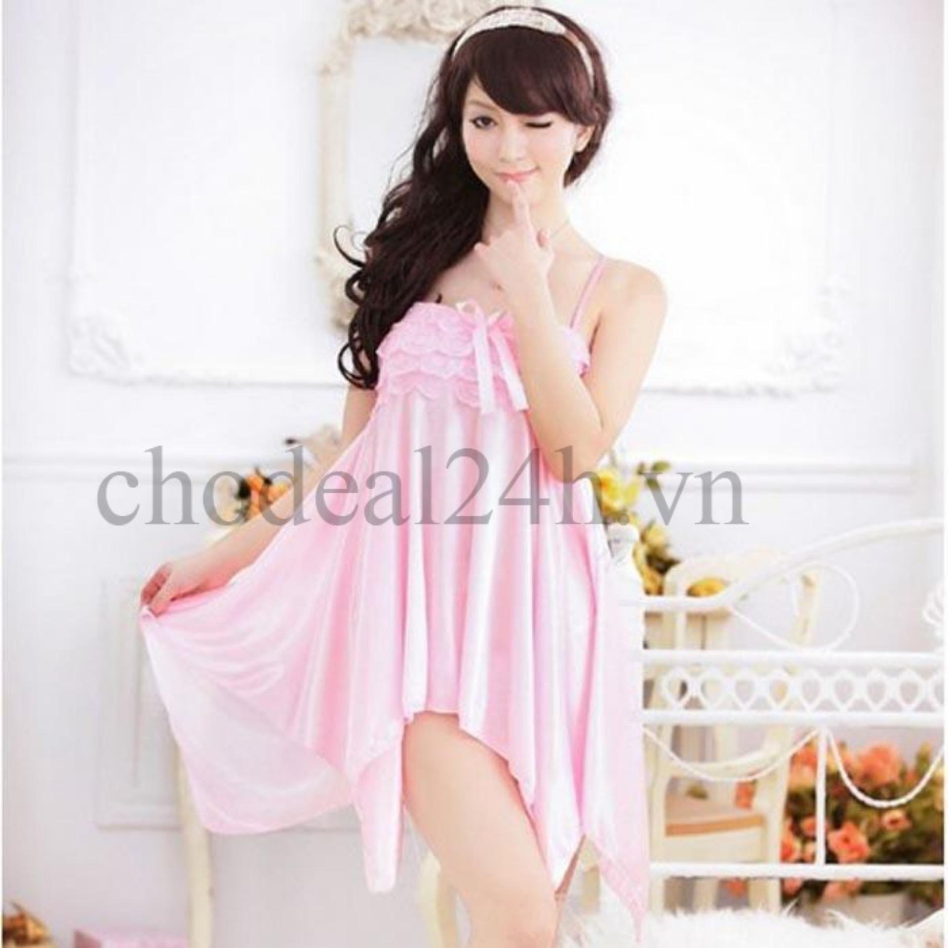 Áo đầm ngủ quyến rũ thun phi CDAN03 Kim Phát (hồng)