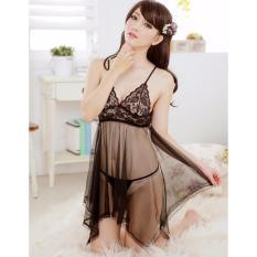 Áo đầm ngủ sexy Von Lưới CDAN01 Kim Phát (Đen)
