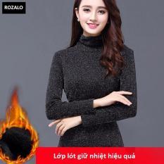 Áo giữ nhiệt dáng ôm cổ lọ tay dài nữ Rozalo RW2289B-Đen