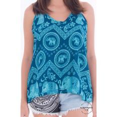 Áo hai dây hàng Thái Harem Pants Sleeveless Elephant Top Electric Blue (màu xanh)