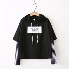 Áo hoodie phối tay kẻ sọc thời trang