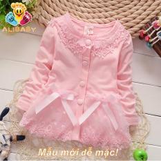 Áo khoác bé gái phối ren mầu hồng M28